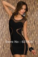 Wholesale!FREE SHIPPING!(10pieces)100% Brand New Women's Sexy Dress/Mesh Insert Club Bodycon Mini Dress,LC2954