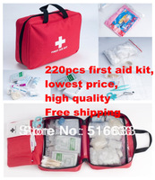 High quality 220pcs enterprise home familiy emergency deluxe 2 person survival first aid kit free shipping FDA,CE&ISO13485