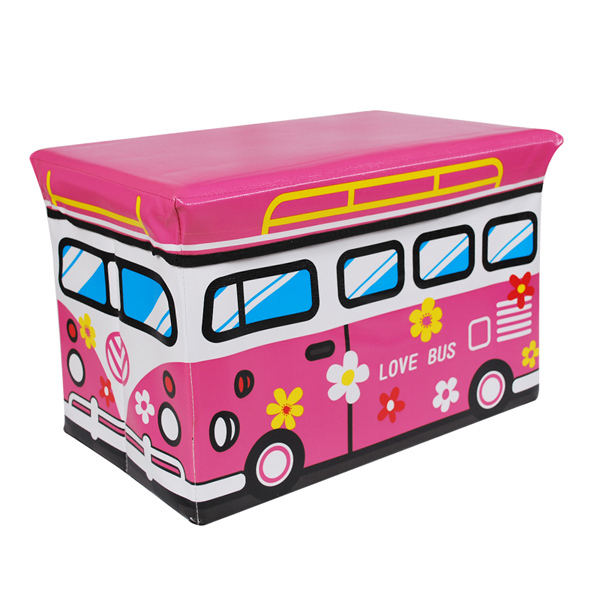 Utility vehicles stool / toy storage stool / Storage Box - Large (pink love bus)(China (Mainland))