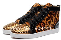 Cheap New Brand Red Bottom Men Women Rivets Spike Flat Sneakers Golden Black High Top Dress Party Leopard Shoes For Sale