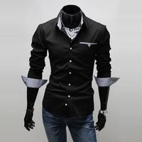 Hot Sale 2014 Brand New Item Design Fashion Men's Shirts Casual Slim Fit Stylish Dress Shirts 3 Colors