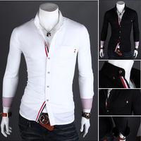 Free shipping New 2014 Men's Slim Luxury Stylish Casual Slim Fit Stylish Men Dress Shirt
