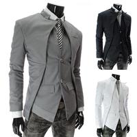 New 2014 fashion winter new asymmetrical men suit slim blazer jacket M~XXL black white gray