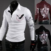 New 2014 Fashion Men Eagle Print Long Sleeve Slim Fit shirt t-shirt