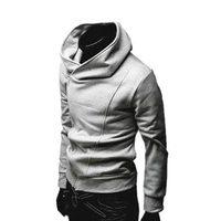 Free shipping Spring 2014 models male oblique zipper hoodies sweatshirt men long sleeve outerwear plus size