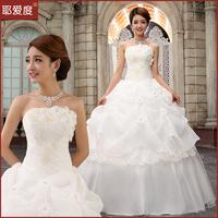 New 2014 Sweet Princess Wedding Dress Rhinestone Floral Off-Shoulder Lace Up Vintage Wedding Gowns Bride Dress
