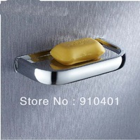 Free Shipping Wholesale And Retail Promotion Modern Wall Mounted Chrome Brass Square Soap Dishes Bathroom Soap Dish Holder