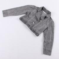 Spring and summer short jacket female long-sleeve slim turn-down collar denim top