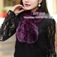 BG28735 Genuine Rex Rabbit Fur Scarves With flower Wholesale Retail Lady Winter Rex Rabbit Fur Scarf