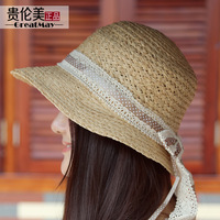Fashion quality women's campaigners strawhat summer outdoor polka dot bow bucket hat