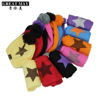 2011 autumn and winter five-pointed star child cap baby hat scarf twinset baby knitted hat
