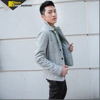New arrival pure woolen stand collar casual jacket male slim outerwear