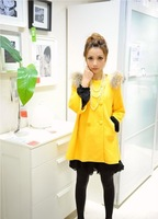 2013 autumn and winter women woolen outerwear bow woolen overcoat cute cloak trench