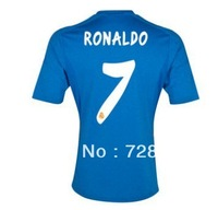 2013-2014 Real Madrid away blue #7 RONALDO football kits, 2014 Cheap soccer uniforms embroidery logo suits free ship ePacket