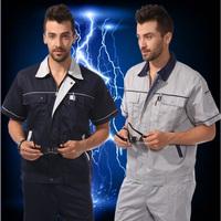 [Free ship-10sets] Short-sleeve workwear set summer work wear tooling short-sleeve workwear set male  welders suit print logo