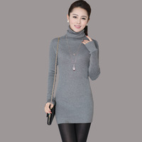 Autumn and Winter Slim Sweater for Women Solid color Medium-long Turtleneck Pullovers Women's Basic Bottoming Sweater