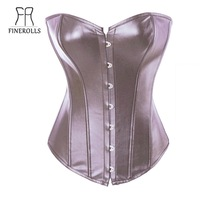 FINEROLLS coffee leather steel buckle ribbon tied up plastic boned overbust corsets women bustier top + thong Free Shipping