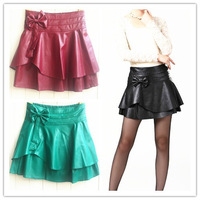 2014 New PU Leather Skirt Bowknot Fluffy Skirt W3340