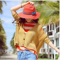 2014 new summer women straw hat sun hat female sun visor big brimmed beach hat red and beige 2 colors B355 Free Shipping