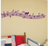 Brief cat musical notes wall stickers music piano musical instrument