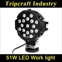 20%Discount!! Black color 51W LED work light flood Beam LED off road car headlight round shape as fog light for Truck Jeep Train