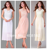 chiffon lace white apricot pink sleeveless plud size casual dress women dresses new fashion 2014 spring summer drop shipping