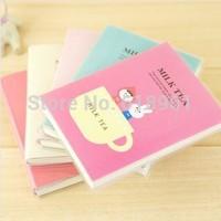 Min.order is $5 Korea Stationery Cute Cartoon Milk Tea Notebook Diary Book PVC Cover Notepad Memo Pad 8.5*11.5cm
