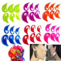 NEW Body jewelry 2-8mm Acrylic  Angel Wing Spiral Ear Plug Expander Stretcher 36pc[BC69(12)*3]
