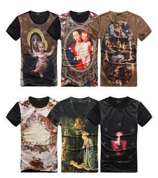 3D saint Paints Religion Jesus Virgin Church Heaven Slim Fitness Women Men Summer Cool T shirt Wholesale Tees top tshirt