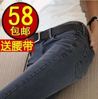 2014 female denim trousers pencil pants slim elastic mid waist skinny pants female plus velvet