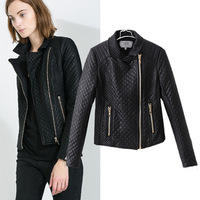 2014 spring autumn fashion slim fashion street motorcycle faux leather dimond plaid outerwear women's all-match