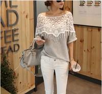 2014 spring women shirt sweet lace cutout handmade crochet cape collar batwing sleeve blouses medium-long t-shirt