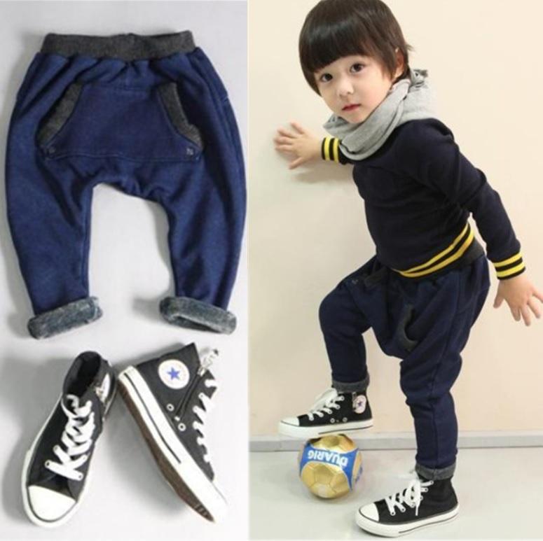 New Casual Pants Cotton Harem Pants Lovely Boy Slacks Fleece Lined Jeans Longs Leggings Trousers Thick Kids F34(China (Mainland))