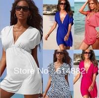 Fashion Women Beach Dress V-neck Sexy Dresses Holiday  Beach Silk Dress Free Shipping 622