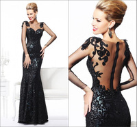 Sweethearted Sequined Evening Dresses 2013 New Arrival With Long Sleeves Sexy Open Back Prom Dresses Mermaid Free Shipping