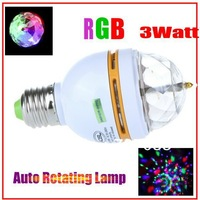 3W E27 Full Color LED Crystal Voice-activated Rotating Stage Lighting  DJ Lamp Light Bulb Stage Lighting Free Shipping