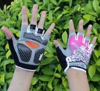 Pink New Women Cycling Gloves Bike Gloves Bicycle 3D GEL Shockproof Half Finger Gloves XS/M