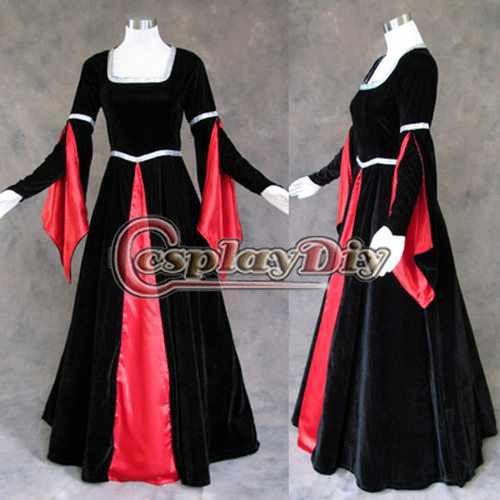 Custom Made Medieval Renaissance Gown Goth Vampire Dress Costume Cosplay Costume(China (Mainland))