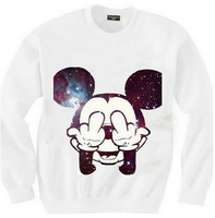 East Knitting SW-111 women's mickey sweatshirts Mitch printed hoodies galaxy pullovers 2014 New free shipping