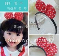 Free Shipping polka dot headbands for girls/kids cute bow princess headbands accessories girls hairband wholesale GLA-0021
