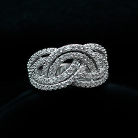 Retail and Wholesale Pretty New Fashion18K White Gold Plated Cross Crystal Wedding Ring R773 Free Shipping Worldwide