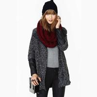 Dark grey woolen blending PU patchwork zipper medium-long outerwear overcoat haoduoyi