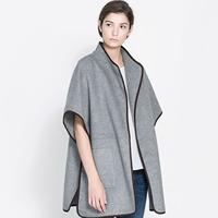 Double pocket Light gray border no button woolen outerwear stand collar cloak haoduoyi