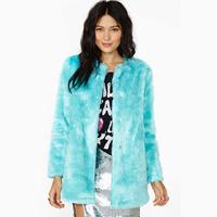 Mint green medium-long long-sleeve faux fur coat overcoat haoduoyi