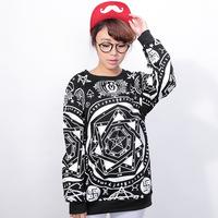 HP-09 Five-pointed star decorative pattern 2014 Female sweatshirt Harajuku sweatshirts Pullovers Printed sweatshirt sportswear