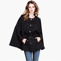 Double pocket single breasted decoration bell lined cape cloak have belt 6 haoduoyi