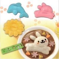 Free Shipping 4Pcs/Set  Rabbit Dolphin Rice Mould Bentos Balls Sushi Abrasive Tool DIY/Cooking TOOL