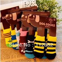 4pcs/Set Fashion Pet Socks, Non-slip Soft Cotton Dog Cat Indoor Socks S/M/L Multicolour Free Shipping