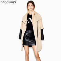 Free shipping Camel wool overcoat large lapel quilting patchwork faux leather zipper front fly haoduoyi as  Wholesale and retail