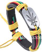 Free shopping Wholesale Genuine Leather Metal Unisex Men's & Lady's Love Fashion For Women Bracelet Bangle lucky leaf men